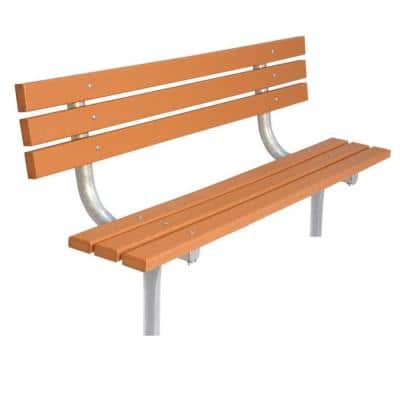 6 ft. Cedar Commercial Park In-Ground Recycled Plastic Benchwith Back