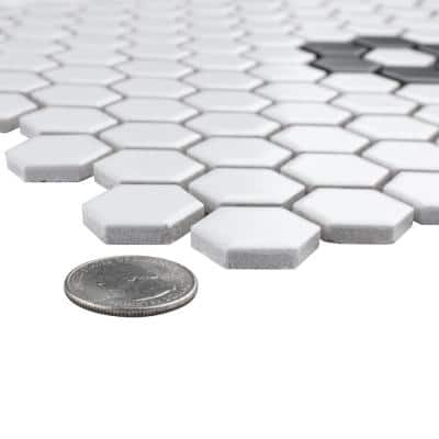 Metro Hex Matte White with Single Flower 10-1/4 in. x 11-7/8 in. Porcelain Mosaic Tile (8.65 sq. ft. / case)