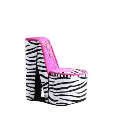 9 in. High Heel Shoe Display with Hooks Zebra Print Jewelry Box