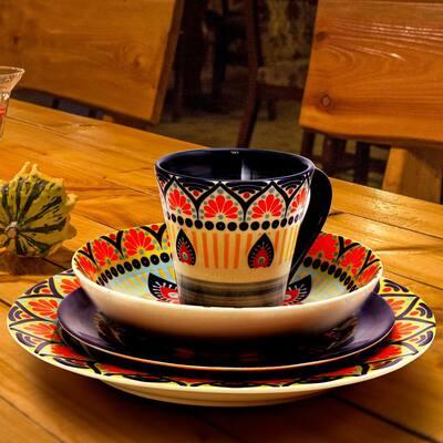 Zen 16-Piece Bohemian Blue Stoneware Dinnerware Set (Service for 4)