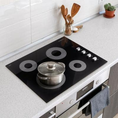 24 in. Smooth Top Electric Ceramic Glass Cooktop in Black with 4 Elements, Dual Zone Heating and Control Knobs