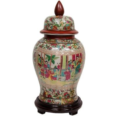 18 in. Porcelain Decorative Vase in Red