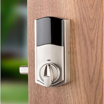 Premis Touchscreen Smart Lock Satin Nickel Single Cylinder Electronic Deadbolt featuring Milan Hall/Closet Lever