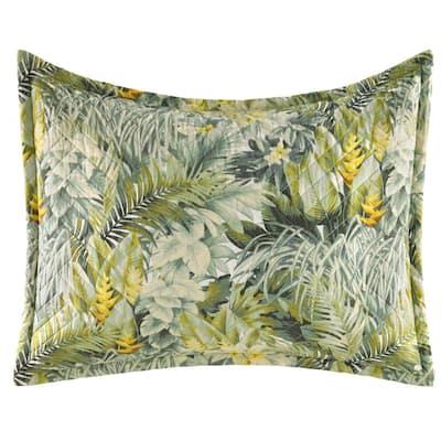 Cuba Cabana 1-Piece Light Green Botanical Cotton Standard Sham