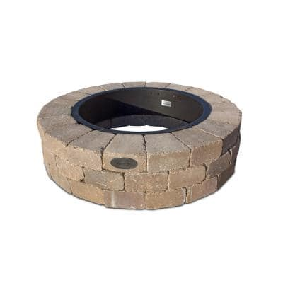 Grand 48 in. W x 12 in. H Round Concrete Beechwood Fire Pit Kit