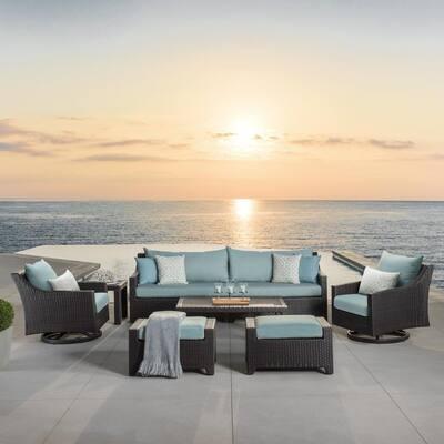 Deco 8-Piece Motion Wicker Patio Conversation Deep Seating Set with Sunbrella Spa Blue Cushions