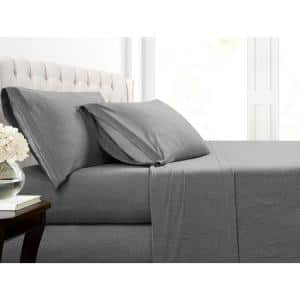 Heather Jersey 4-Piece Charcoal Solid Cotton Blend Full Sheet Set
