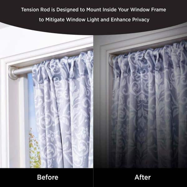 60 In Tension Curtain Rod Silver, How To Put Curtains On A Tension Rod