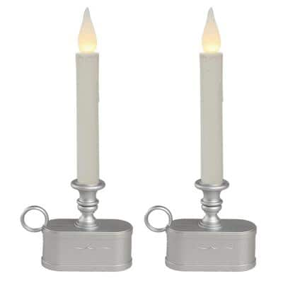 Battery Operated 1 Tier Wireless LED White Candle with Pewter Base (Set of 2)
