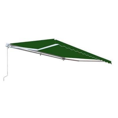 8 ft. x 6.5 ft. Retractable Patio Awning Dark Green