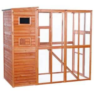 76.75 in. L x 37.25 in. W x 68.75 in. H Wooden Outdoor Cat Run