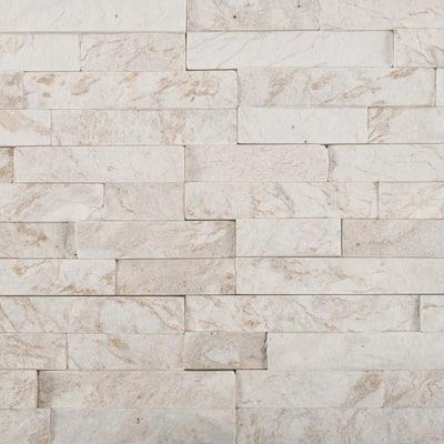 Royal White Split Face Ledger Panel 6 in. x 24 in. Natural Quartzite Wall Tile (10 cases / 60 sq. ft. / pallet)