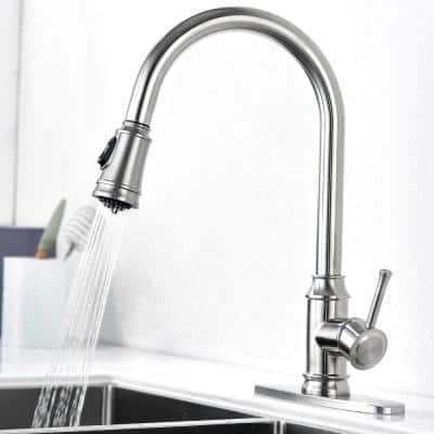 Grarcy Single-Handle Pull-Down Sprayer Kitchen Faucet with 2 Spray Mode in Stainless Steel