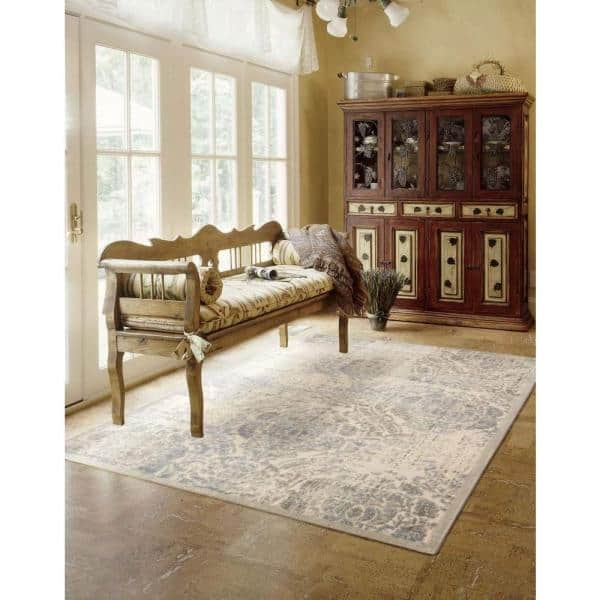 Nourison Graphic Illusions Ivory 5 Ft X 7 Ft Persian Vintage Area Rug 130778 The Home Depot
