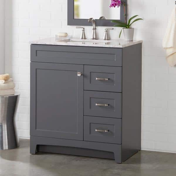 Home Decorators Collection Thornbriar 31 In W X 22 In D X 37 In H Bath Vanity In Cement W Cultured Marble Vanity Top In White W White Sink Tb30p2v7 Ct The Home Depot