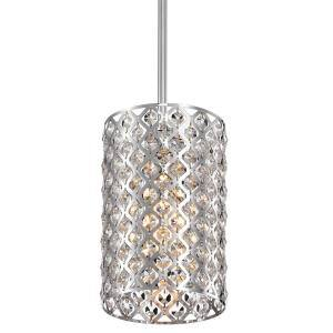 1-Light Chrome Drum Pendant with Clear Crystal Shade