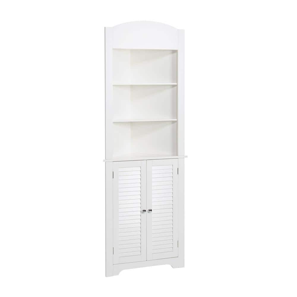 Riverridge Home Ellsworth 23 1 4 In W X 68 31 100 X 11 1 2 In D Corner Bathroom Linen Storage Tower Cabinet In White 06 027 The Home Depot