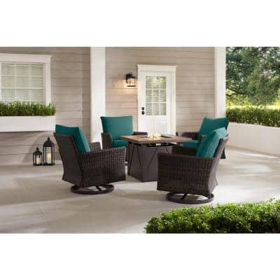 Lakeline 5-Piece Brown Metal Outdoor Patio Fire Pit Swivel Seating Set with CushionGuard Malachite Green Cushions