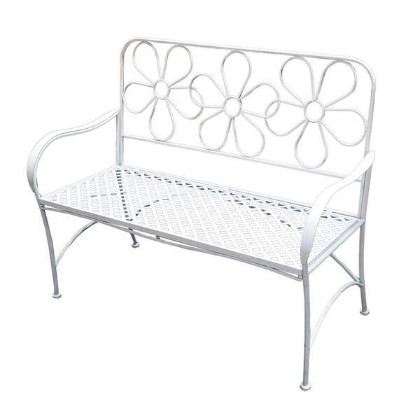 Alpine Corporation Daisy Metal Garden, White Metal Garden Bench