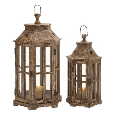 Brown Hexagonal Windowpane Candle Lanterns (Set of 2)