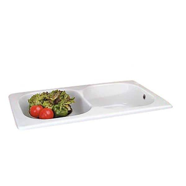 Renovators Supply Manufacturing Cesame 34 In Drop In Self Rimming Double Basin Kitchen Sink In White With Overflow 18938 The Home Depot