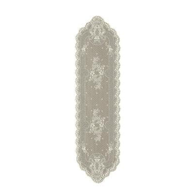 Floret 14 in. W x 55 in. L Ecru Floral Polyester Table Runner
