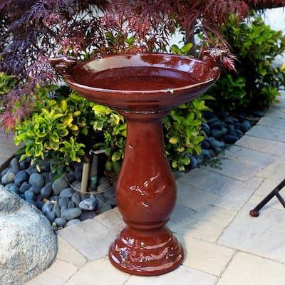 24 in. Tall Outdoor Ceramic Antique Pedestal Birdbath with 2 Bird Figurines, Red