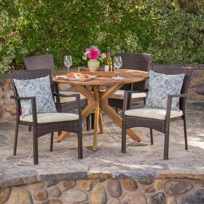 Hugo 5-Piece Wood and Wicker Circular Outdoor Dining Set with Crme Cushion
