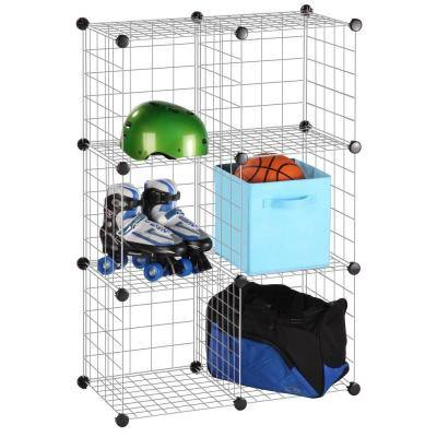45 in. H x 15 in. W x 30 in. D Grey Steel 6-Cube Storage Organizer