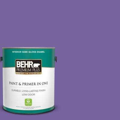 1 gal. #PPU16-03 Purple Paradise Semi-Gloss Enamel Low Odor Interior Paint and Primer in One