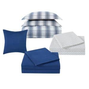 Grayson 12-Piece Grey and Blue Polyester Full Comforter Set