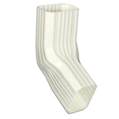 2 in. x 3 in. White Vinyl Downspout Extension - A/B Elbow
