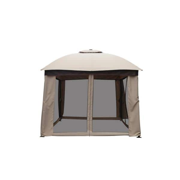 Hampton Bay 12 Ft X 10 Ft Outdoor Patio Solar Led Lighted Gazebo Fsc18015 The Home Depot