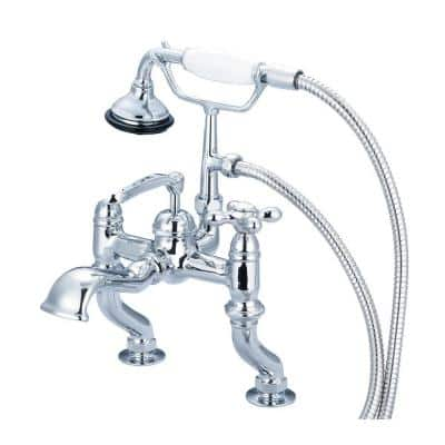 3-Handle Vintage Claw Foot Tub Faucet with Hand Shower and Cross Handles in Triple Plated Chrome