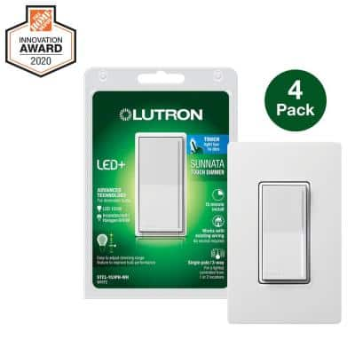 Sunnata LED+ Dimmer Switch with Wallplate, for LED Incandescent/Halogen, 150-Watt, Single Pole Only, White (4-Pack)