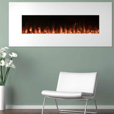50 in. Electric Fireplace Color Changing Wall in White