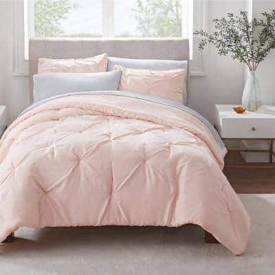 Simply Clean 7-Piece Blush Pleated Full Bed in a Bag Set