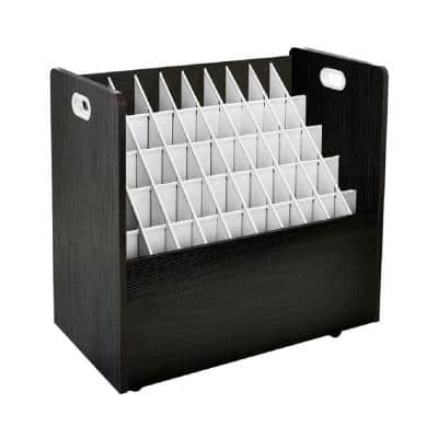 50-Compartment Black Mobile Wood Roll File Storage Organizer