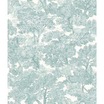 Spinney Teal Toile Teal Wallpaper Sample
