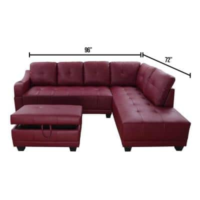 Bill 3-Piece Red Faux Leather 3-Seater L-Shaped Right-Facing Sectional Sofa with Ottoman