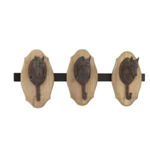 Black Metal and Beige Wood Horse Decorative Wall Rack with 3-Hooks