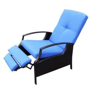 Brown Plastic Rattan Outdoor Recliner Chair with Comfortable Padded Blue Cushion 3 Recline Positions and Versatile Uses