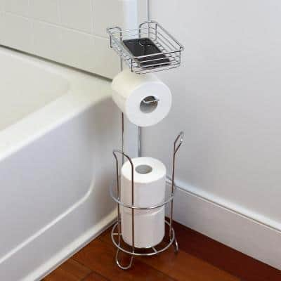 Free-Standing Toilet Paper Holder in Chrome with Built-In Accessory Tray