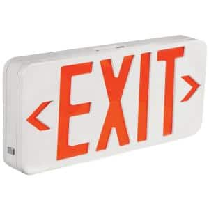 6-Watt White Housing Integrated LED Red Exit Sign with Universal AC Only