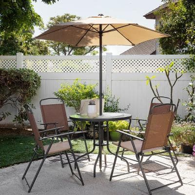 6-Pieces Dining Set Patio Steel Outdoor Set with Umbrella 4 Folding Fabric Chairs Table Beige