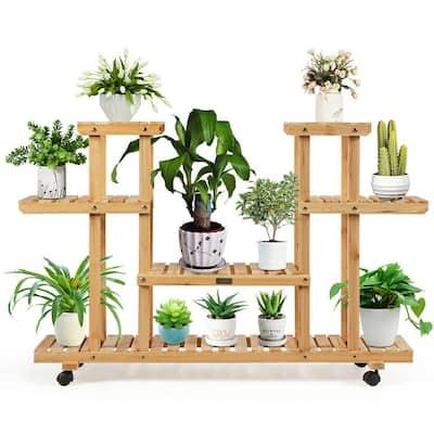 45.5 in. x 10 in. x 31.5 in. Ladder Indoor Outdoor Beige Wood Plant Stand (4-Tiers)