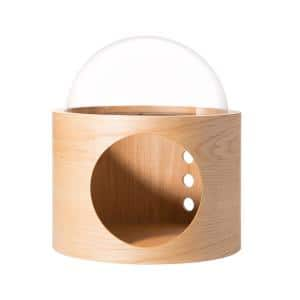 MYZOO Small Spaceship Gamma Oak Wall Mounted Cat Bed Open on the Left
