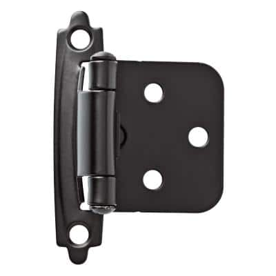 Matte Black Self-Closing Overlay Cabinet Hinge (1-Pair)