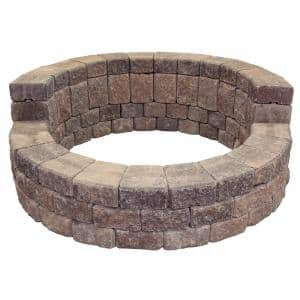 58 in. x 20 in. Concrete Romanstack High Back Fire Pit Kit in Northwest Blend
