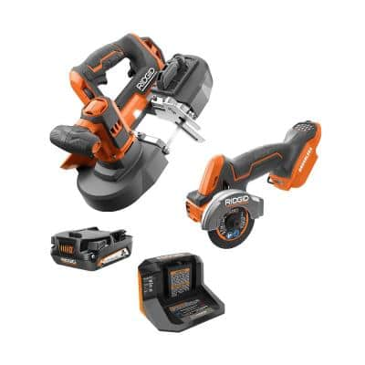 18V Cordless 2-Tool Combo Kit with Compact Band Saw, SubCompact Brushless Multi-Material Saw, 2.0 Ah Battery and Charger